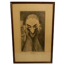 Antique Optical Illusion Pressed Lithograph- Gossip and Satan Came Also by George A. Wotherspoon