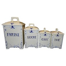 Vintage Blue French Farmhouse Canister Set designed by Jay Willfred  for Andrea by Sadek Made in  Portugal