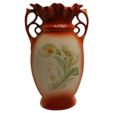 Antique Victorian Red and White Vase with Lilies -Red Germany Backstamp