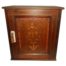 Antique Wood Wall or Counter Cabinet with Inlaid Marquetry on Cabinet Door
