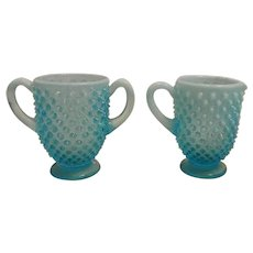 Vintage Fenton Opalescent Blue Hobnail Sugar and Creamer