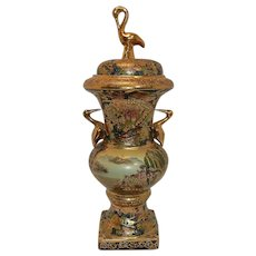 Vintage Satsuma Cloisonne Porcelain Urn with 22kt Gold Stork Handles and Finial and Floral Accents