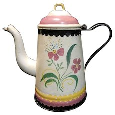 Antique Tole Painted Large Enamel Ware Coffee Pot
