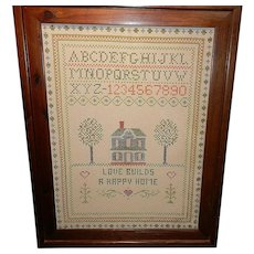 Vintage Needlepoint Sampler with Wood Frame