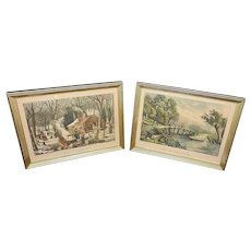Vintage Currier and Ives Lithographs of Maple Sugaring and The Old Ford Bridge