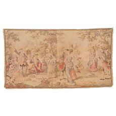 Vintage Belgium Tapestry of Victorian Picnic