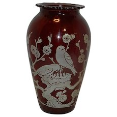 Vintage Anchor Hocking Ruby Red Hoover Pattern with White Birds and Flowers Vase