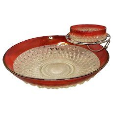 Vintage Indiana Glass Diamond Point Ruby Red Flash Chip and Dip Bowl