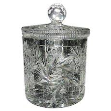 Vintage Leaded Cut Crystal Cookie Jar or Biscuit Barrel