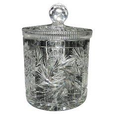 Vintage Leaded Cut Crystal Cookie Jar or Biscuit Barrel