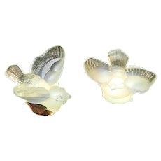 "Vintage Sabino Art Glass Opalescent Pair of Mini Birds ""Mini Oiseaux"""
