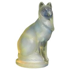 Vintage Sabino Art Glass Opalescent Small Shepherd Dog