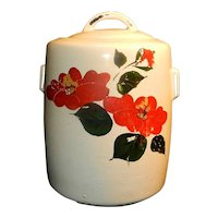 Vintage McCoy Cylinder Cookie Jar Cold Painted with Flowers