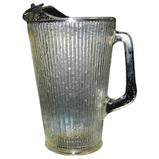 Vintage Janette Glass Tree Bark Pattern 64 oz Pitcher