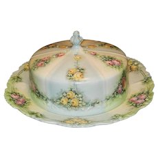 Antique JPL Hand Painted Limoges Domed Cheese Dish with Roses