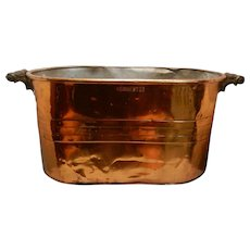 Vintage Rochester Copper Boiler Wash Tub with Wooden Handles