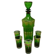 Vintage Mid Century Green with 22kt Gold Accents Decanter and Liqueur Glasses