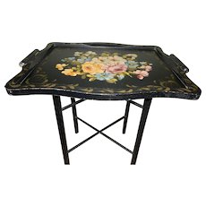 Vintage Wood Hand Painted Tole Serving Tray with Wood Stand