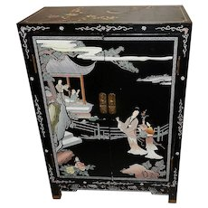 Vintage Asian Hand Carved & Painted Cabinet - Red Tag Sale Item