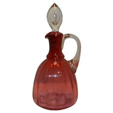 Vintage Hand Blown Handled Cranberry Cruet with Glass Stopper