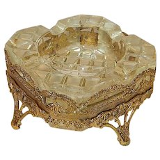 Vintage Hollywood Regency Style Glass Ashtray with Gold Filigree Stand
