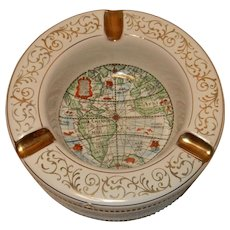 Vintage Mid-Century Italian Porcelain World Map Ashtray