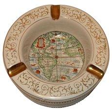 Vintage Mid-Century Italian Porcelain World Map Ashtray