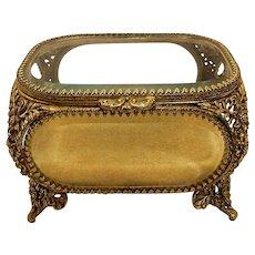 Vintage Matson 22Kt Gold Plated Filigree and Beveled Glass Vanity Casket