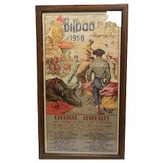 Vintage Original Bullfighting Poster from Bilbao Spain Vista Alegre Stadium 1958