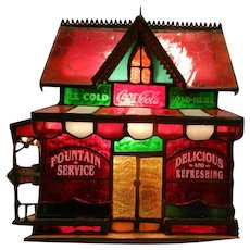 Vintage Coca Cola Franklin Mint Lighted Stained Glass Corner Store