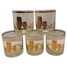 Vintage Culver 22K Gold Reversed Owl Old Fashioned Glasses