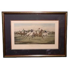 """Vintage George Wright Offset Lithographs """"A Backhander Stops The Rush"""" and """"A Gallop On The Boards"""""""