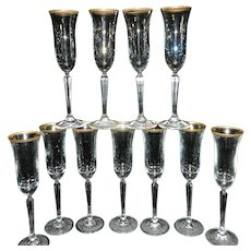 Vintage Mikasa Wheaton Full Leaded Crystal Champagne Flutes
