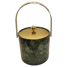 Mid-Century Kraftware Faux Marble and Brass Ice Bucket