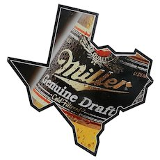 Vintage Miller Genuine Draft Texas Shaped Metal Beer Sign
