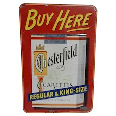 Vintage 1950's Metal Chesterfield Cigarette Advertising Sign