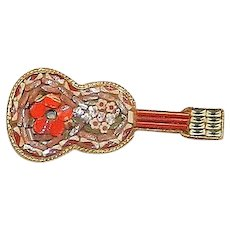 Vintage Micro Mosaic Guitar Pin Made in Italy