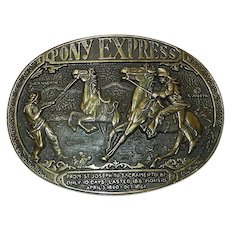 Vintage 1981 Limited First Edition Pony Express Solid Brass Belt Buckle