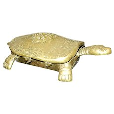 Vintage Brass Turtle Made in Korea Trinket Box