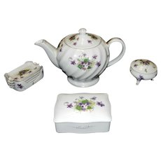 Vintage Norcrest Sweet Violets Teapot, Cigarette Box, Ashtrays and Three Footed Trinket Box