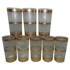 Vintage Culver Icicle Tumblers with 22kt Gold Trim