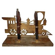 Vintage Handmade Walnut Pen and Pencil Set with Old Time Locomotive Wood Holder