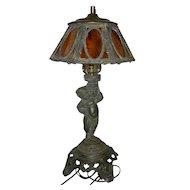 Vintage Art Deco Style Spelter Cherub Lamp with Slag Glass Shade
