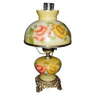 Vintage Hand Painted Hurricane  Lamp