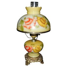 Vintage Hand Painted Hurricane  Lamp