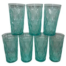 Vintage Fire King Mid-Century Blue Kimberly Pattern Iced Tea Glasses