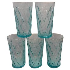 Vintage Fire King Mid-Century Blue Kimberly Pattern Water Glasses