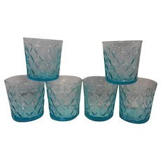 Vintage Fire King Mid-Century Blue Kimberly Pattern Old Fashion Glasses