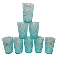 Vintage Fire King Mid-Century Blue Kimberly Pattern Juice Glasses