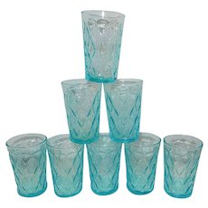 Vintage Fire King Mid-Century Blue Kimberly Pattern Juice Glasses